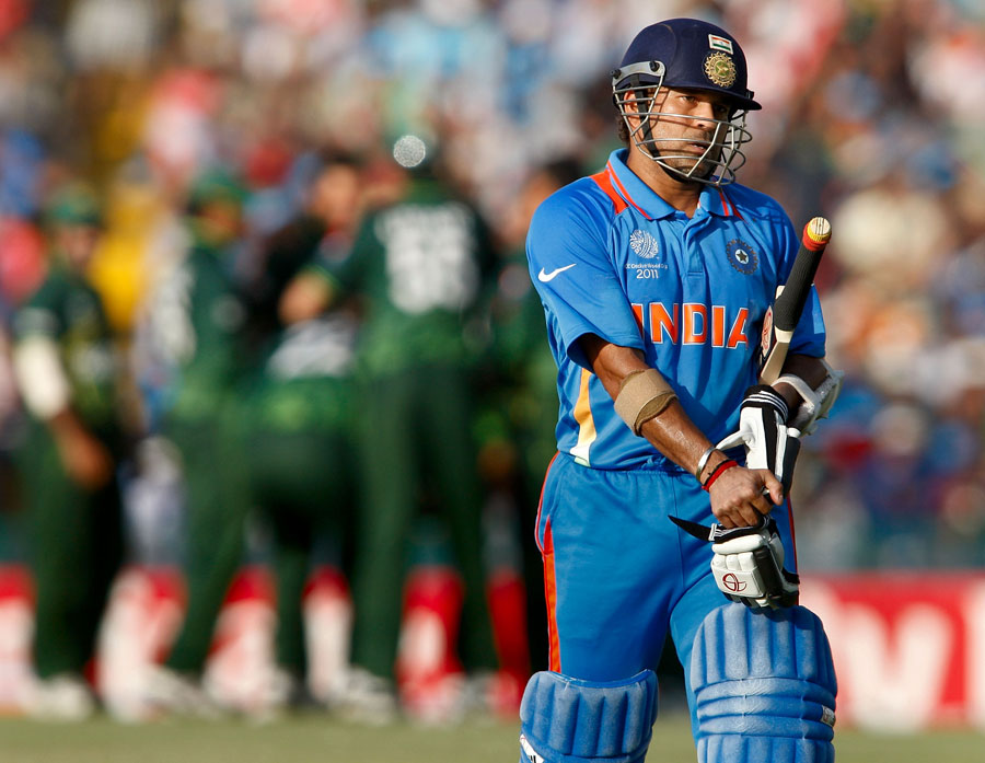 Sachin Tendulkar walks back after a chancy 85, India v Pakistan, 2nd semi-final, World Cup 2011, Mohali, March 30, 2011