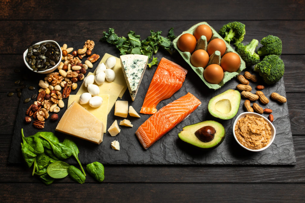 Ketogenic diet concept - low carb healthy food